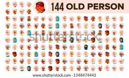 Indian Old Woman Avatar Set Vector. Face Emotions. Senior Person Portrait. Elderly People. Aged. Hea Stock photo © pikepicture