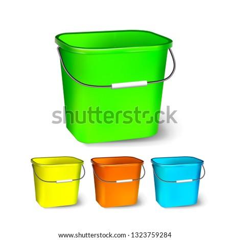 Tér műanyag vödör vektor különböző színek Stock fotó © pikepicture