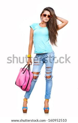 Retrato jovem morena menina óculos de sol Foto stock © studiolucky
