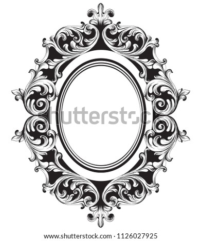 Stock photo: Vintage Baroque Mirror frame.Vector. French Luxury rich intricate ornaments. Victorian Royal Style d