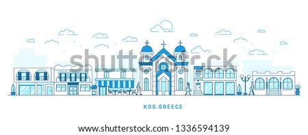 Lijn kunst stijl Griekenland eiland stadsgezicht Stockfoto © MarySan