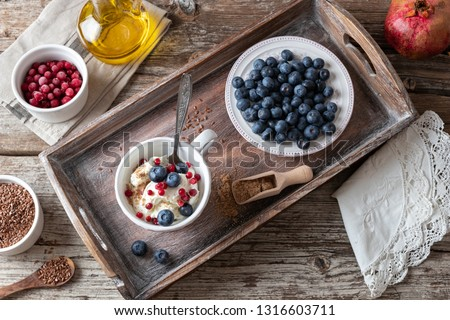 Cottage cheese with ground flax seeds, blueberries and cranberries stock photo © madeleine_steinbach