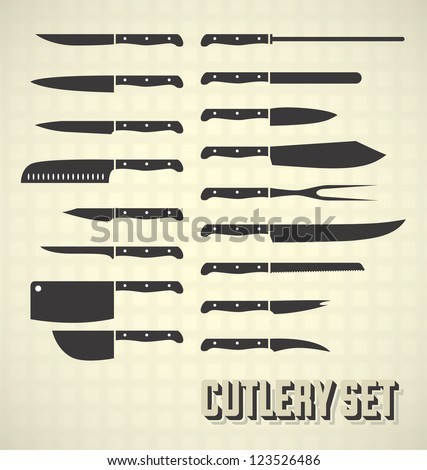 Kitchen knife silhouette, butcher kitchenware, Meat cutting knives, vector Stock photo © Andrei_