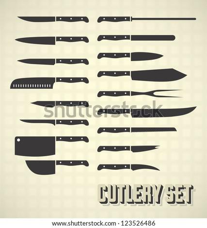 messen · collectie · keukengerei · ingesteld · zwarte · kleur - stockfoto © andrei_
