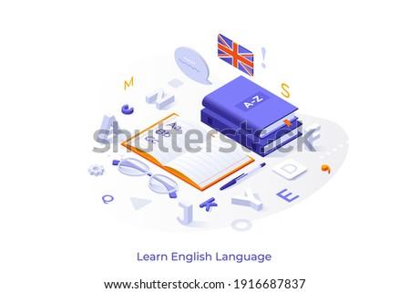Angol nyelv modern színes izometrikus fehér Stock fotó © Decorwithme