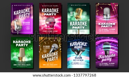 Karaoke Poster Vector. Dance Event. Karaoke Vintage Studio. Musical Record. Old Bar. Star Show. Mode stock photo © pikepicture