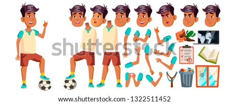Arab, Muslim Boy Kid Vector. High School Child. Animation Creation Set. Face Emotions, Gestures. Spo Stock photo © pikepicture