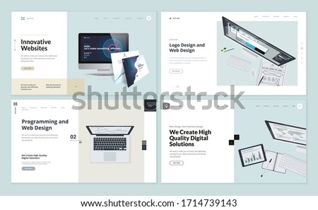 flat isometric vector landing page template for mobile app launch checklist stock photo © tarikvision