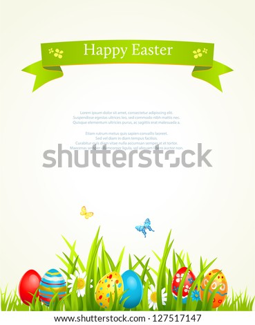 Easter Holiday illustration with cloud and green grass on blue sky background. He is risen. Vector C Stock photo © articular