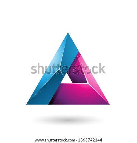 Stock photo: Blue and Magenta 3d Glossy Triangle with a Hole Vector Illustrat
