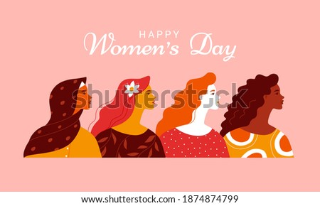 Women's Day 8th March banner of diverse girl head Stock photo © cienpies