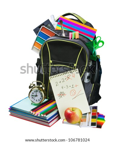 Stok fotoğraf: Okula · geri · kitaplar · kırmızı · elma · yeşil · natürmort