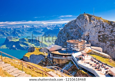 Lake Luzern and town waterfront with Pilatus mountain peak view stock photo © xbrchx