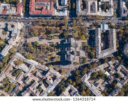 Panoramic view of the city of Odessa, from Spaso-Preobrazhensky Cathedral and sea port on a backgrou Stock photo © artjazz