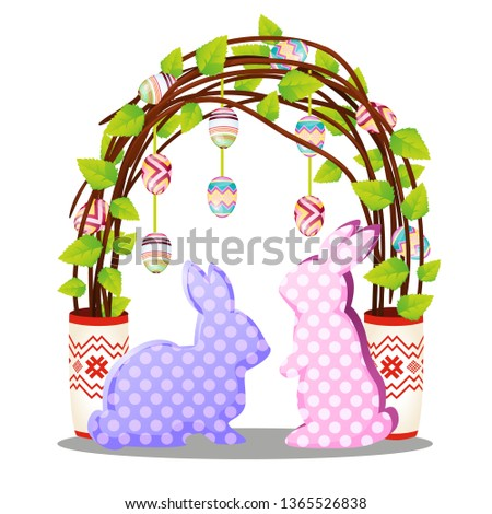 Easter decor in the form of silhouettes of hares made of paper and colorful eggs isolated on white b Foto stock © Lady-Luck