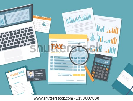 Tax payment. Government, state taxes. Data analysis, paperwork, financial research, report. Business Stock photo © makyzz