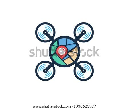 Drone icon on map pointer, copter with camera, vector illustrati Stock photo © kyryloff