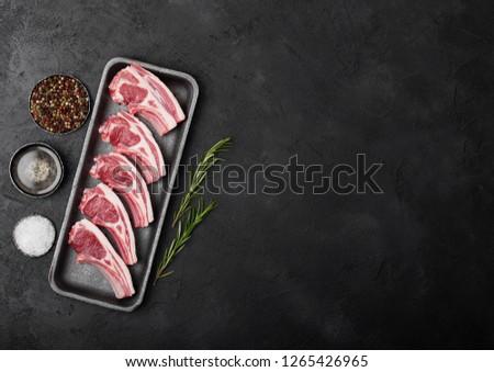 fresco · cordeiro · carne · plástico · bandeja - foto stock © denismart