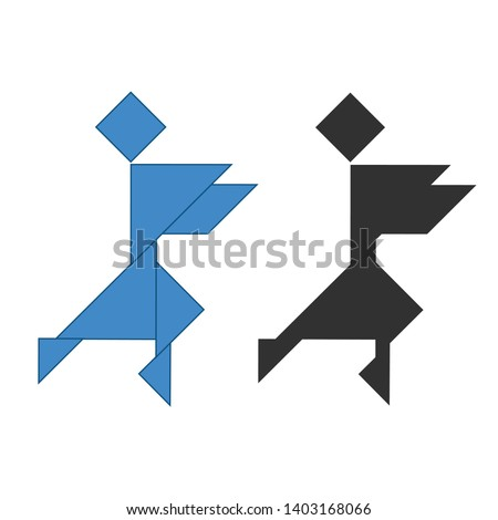 Ninja Tangram. Traditional Chinese dissection puzzle, seven tiling pieces - geometric shapes: triang Stock photo © kyryloff