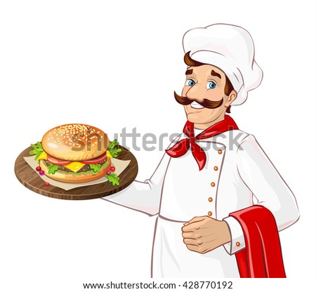 chef hamburger cartoon character holding a platter with burger french fries and a soda stock photo © hittoon