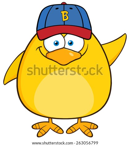 Smiling Yellow Chick Cartoon Character With Baseball Hat Waving Stock photo © hittoon