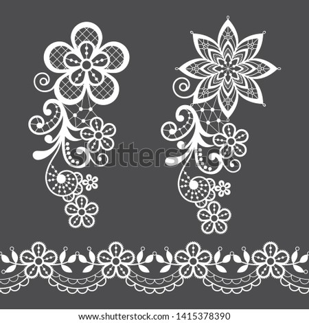 Vitnage lace half single vector pattern set - floral lace design collection, retro openwork backgrou Stock photo © RedKoala