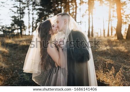 şık yeni evliler kucaklamak doğa kayalar Stok fotoğraf © ElenaBatkova
