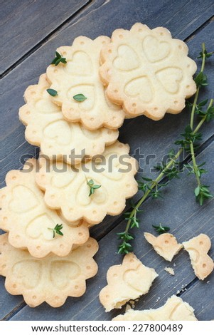 homemade gluten free shortbread cookies with branches of thyme stock photo © melnyk