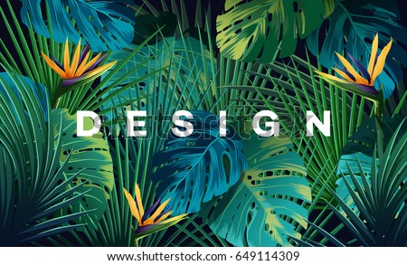 Aloha Hawaii background. Tropical plants, leaves and flowers. Hawaiian language greeting. Vector ill stock photo © ikopylov
