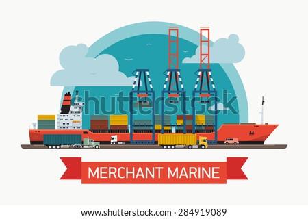 Kontenerowiec portu kupiec morskich działalności morza Zdjęcia stock © makyzz