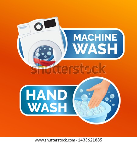 Washing machine sticker, washer with clothes, linen and foam bubbles inside, vector illustration iso Stock photo © MarySan