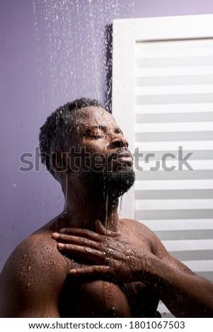 ハンサム 筋肉の 男 シャワー 雨 ストックフォト © konradbak