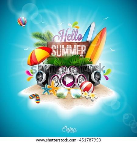 ストックフォト: 夏休み · デザイン · スピーカー · サングラス · 青 · 熱帯