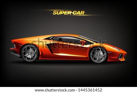 Realistic golden super car design concept, bright orange gold luxury automobile supercar Stock photo © MarySan