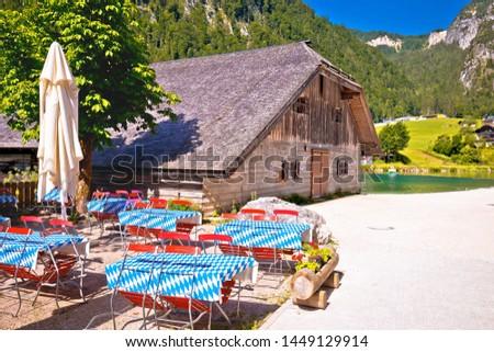 Konigssee coast Bavarian Alpine landscape and old wooden archite Stock photo © xbrchx