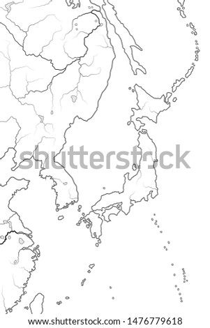 World Map of JAPAN: «Land of the Rising Sun» (endonym: Nippon/Nihon), and its islands. Chart. Stock photo © Glasaigh