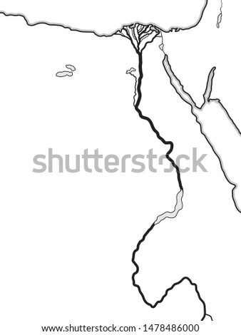 World Map of EGYPT and LIBYA: North Africa, Lower Egypt And Upper Egypt, The Nile River & its Delta. Stock photo © Glasaigh
