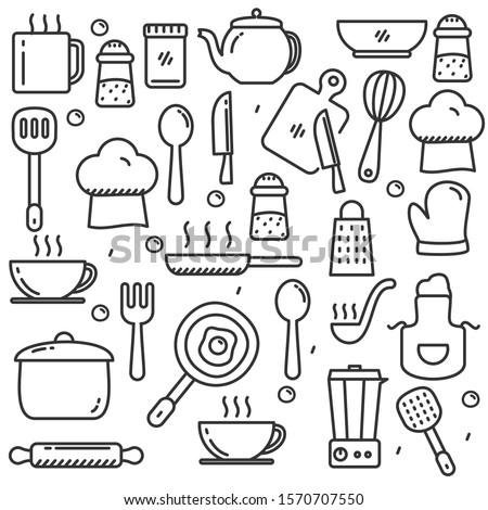 Line art vector hand drawn doodles cartoon set of Coffee combinations of objects Stock photo © balabolka