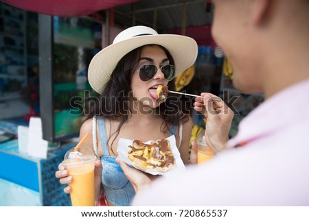 young woman tourist on walking street asian food market vertical format for instagram mobile story o stock photo © galitskaya