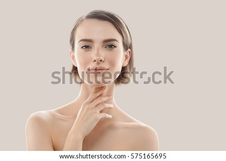 Juventude cuidados com a pele beleza cara retrato branco Foto stock © serdechny