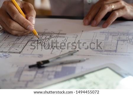 mühendis · planları · inşaat · makinalar - stok fotoğraf © snowing