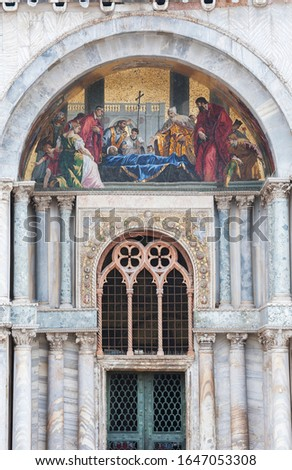 Saint Mark's body venerated by the doge mosaic at facade of Basi Stock photo © boggy