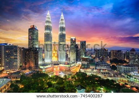 Kuala lumpur skyline at night, Malaysia, Kuala lumpur is capital city of Malaysia VERTICAL FORMAT fo Stock photo © galitskaya
