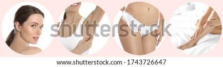 Foto stock: Depilação · com · cera · bela · mulher · laser · cabelo · remoção · biquíni
