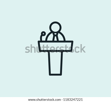 Businessman on podium speaking at conference with sports stadium Stock photo © wavebreak_media