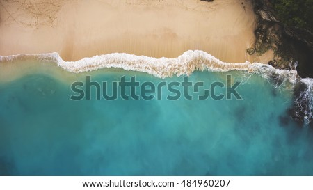 Natural tropical sandy beach and calm sea landscape with trees and blue sky background. Mai Khao bea Stock photo © galitskaya