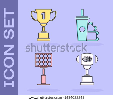 Soccer Game Award Set Vector. Football Ball, Glass Trophy. Tournament. Design For Sport Promotion. S Stock photo © pikepicture