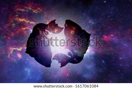 Astrology sign of Pisces or fish with mystic aura in universe. M Stock photo © SwillSkill