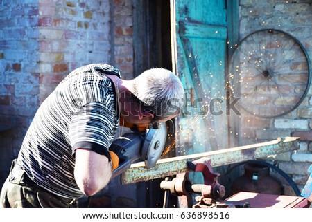 Işçi boru melek öğütücü ağır Stok fotoğraf © lichtmeister