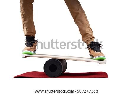 Women on Deck for balance board. Rocker-roller boards. oval wooden deck for balance board. roller fo Stock photo © galitskaya
